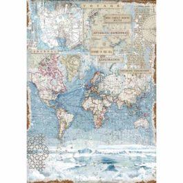 Papier ryżowy MAPA ŚWIATA A3 ARCTIC Stamperia