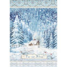 Papier ryżowy niebieski pejzaż A4 WINTER TALES Stamperia