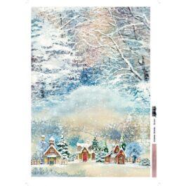 Papier ryżowy ZIMOWA WIOSKA 35x50cm Sztuka Zdobienia