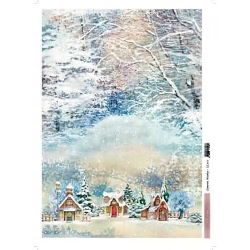 papier-ryzowy-zimowa-wioska