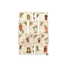 Papier ryżowy KARTKI ŚWIĄTECZNE 35x50cm Decomania