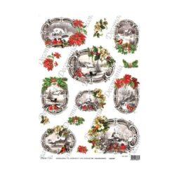 Papier Ryżowy WIDOKI ZIMOWE SEPIA + KWIATY 35x50cm Decomania