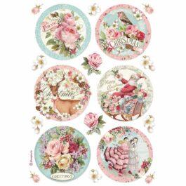 Papier ryżowy OKRĘGI A4 Christmas Pink Stamperia