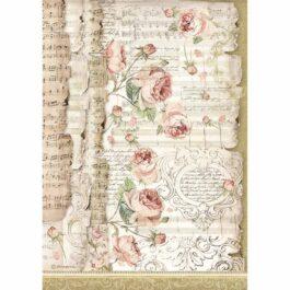 Papier ryżowy RÓŻE I NUTY A4 Princess Stamperia