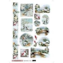 Papier ryżowy PEJZAŻE ZIMOWE 35x50cm Sztuka Zdobienia
