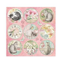 Blok papierów ORCHIDS CATS do scrap Stamperia 20,3×20,3cm 10szt