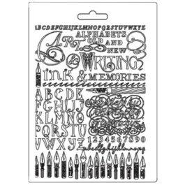 Foremka teksturowa PIÓRA ATRAMENTY CALIGRAPHY A5 Stamperia