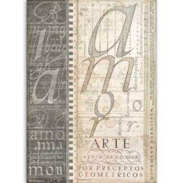 Papier ryżowy ARTE ALFABET A4 CALIGRAPHY Stamperia