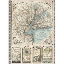 Papier ryżowy MAPA NEW YORK A4 SIR VAGABOND Stamperia