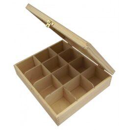 Pudełko drewniane na herbatę Herbaciarka 12 komór 29×24,5×7,5cm