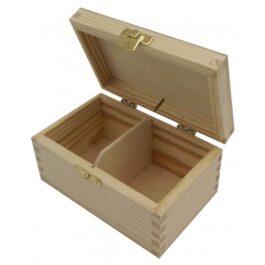 Pudełko drewniane na herbatę Herbaciarka 2 komory 15x9x8cm