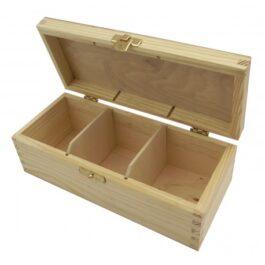 Pudełko drewniane na herbatę Herbaciarka 3 komory 22x9x8cm