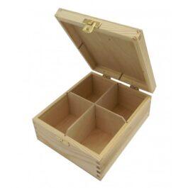 Pudełko drewniane na herbatę Herbaciarka 4 komory 15×17,5×7,5cm