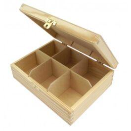 Pudełko drewniane na herbatę Herbaciarka 6 komór 21x16x6,5cm