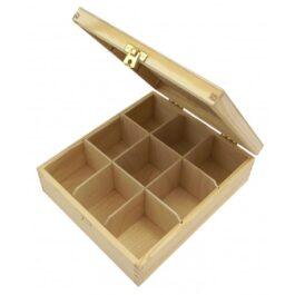 Pudełko drewniane na herbatę Herbaciarka 9 komór 24x20x7cm