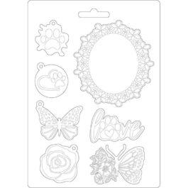 Foremka teksturowa CIRCLE OF LOVE RAMKI MOTYLE A5 Stamperia