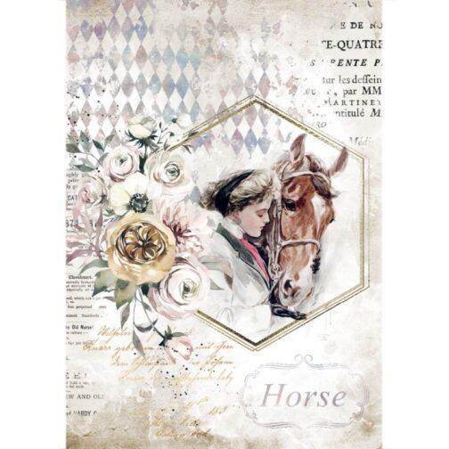 PAPIER-RYŻOWY-ROMANTIC-HORSES-DZIEWCZYNKA