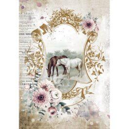 PAPIER-RYZOWY-ROMANTIC-HORSES-NA-PASTWISKU