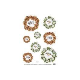 Papier Ryżowy WIEŃCE CZERWONE/ZIELONE 35x50cm Decomania