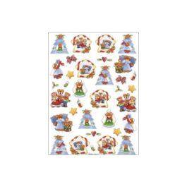 Papier Ryżowy MISIE BOŻONARODZENIOWE 35x50cm Decomania